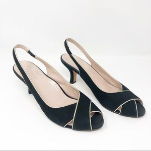 Taryn Rose Cait Black Slingback Peep Toe Heels
